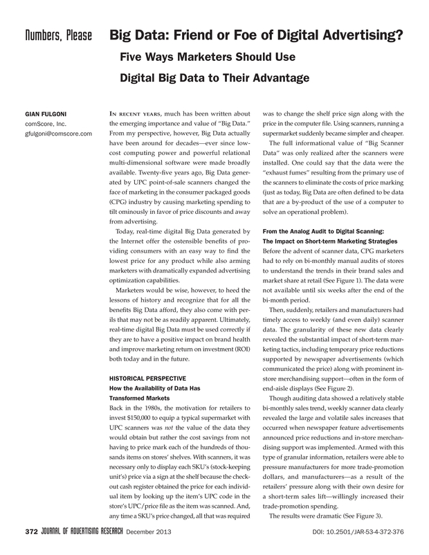 Big Data Friend Or Foe Of Digital Advertising  The Journal Of