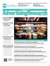 Journal of Advertising Research: 55 (3)