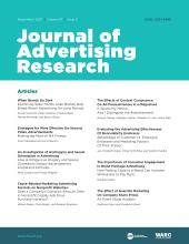 Journal of Advertising Research: 61 (3)